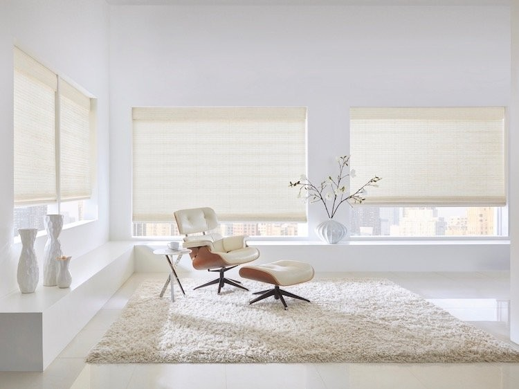 A living room decorated in shades of white.